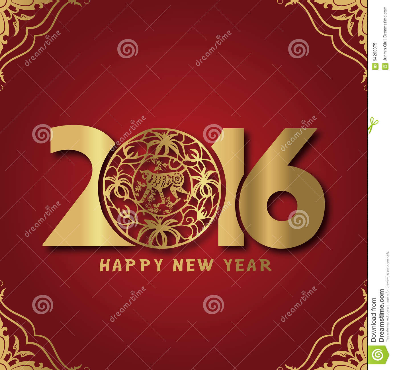 Royalty Free Stock Photo: 2016, New Year, Lunar New Year ...