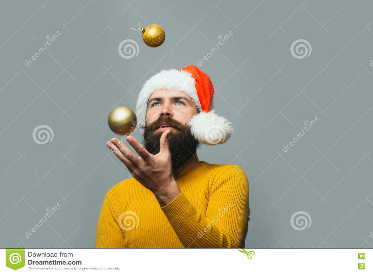 New Year Man With Decoration Ball Stock Photo - Image of ...