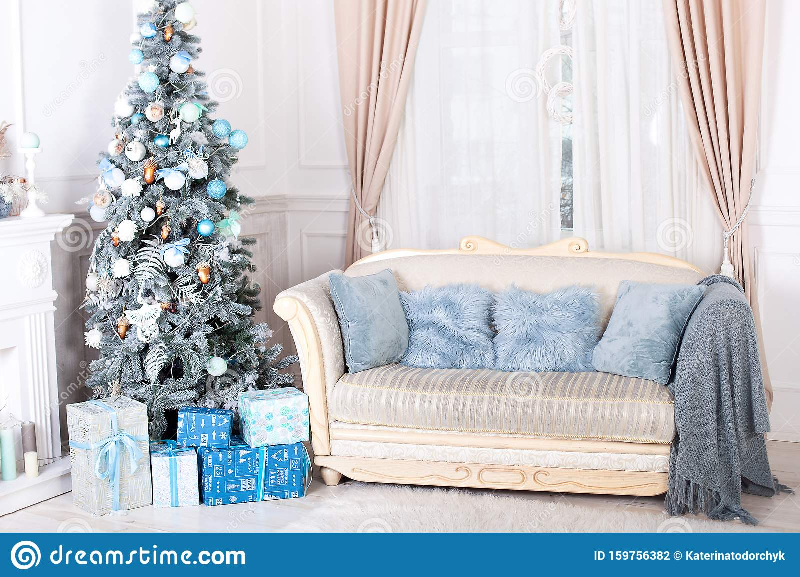 Living Christmas Tree 2020 New Year 2020. Merry Christmas, Happy Holidays. Stylish Living