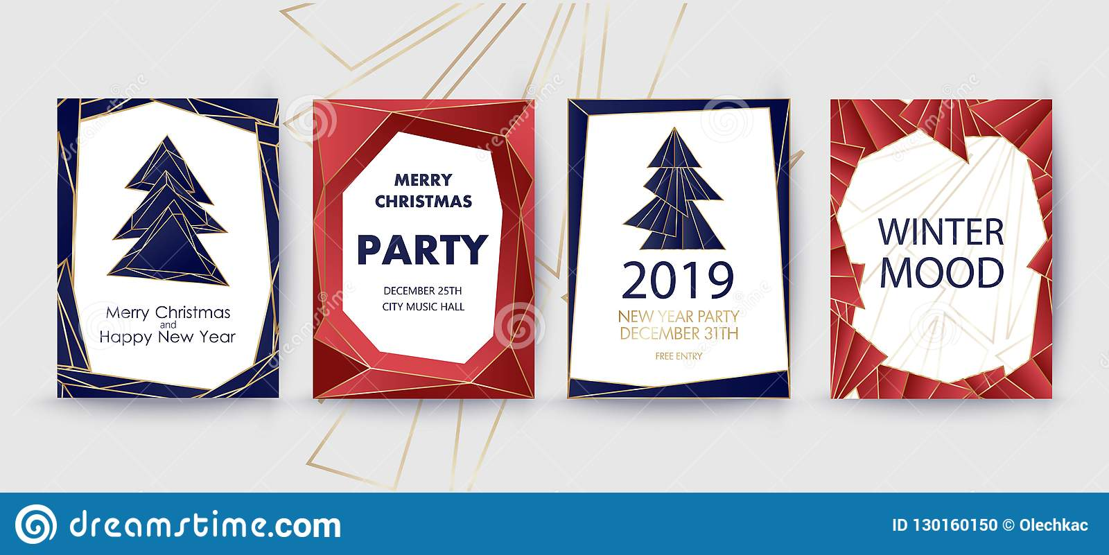 New Year And Merry Christmas Party Invitation Background Geometric