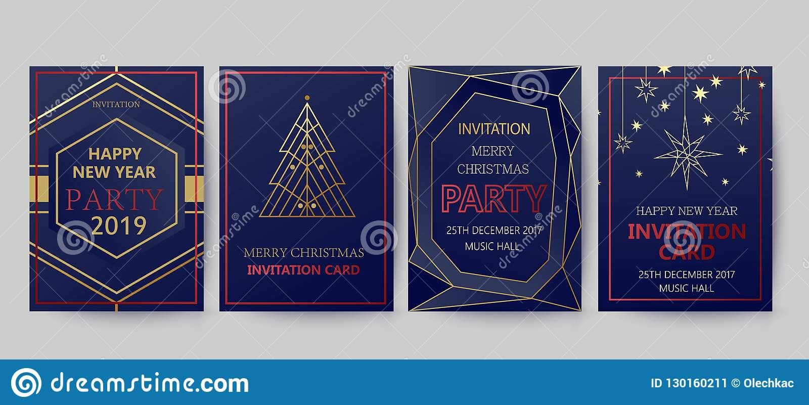 new year and merry christmas party invitation background geometric art style design with holiday