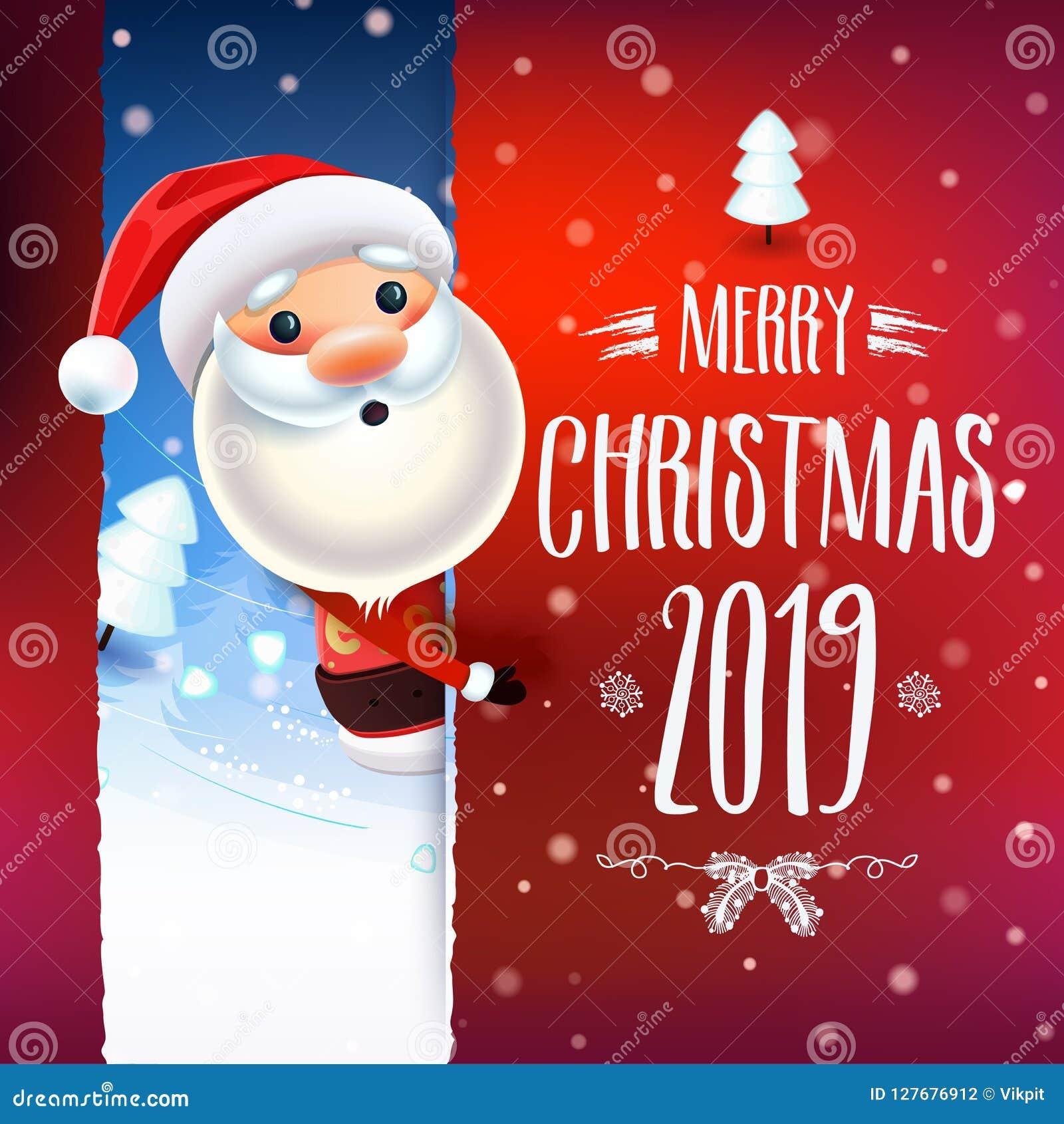 Merry Christmas 2019.2019 New Year Merry Christmas Symbol Stock Vector