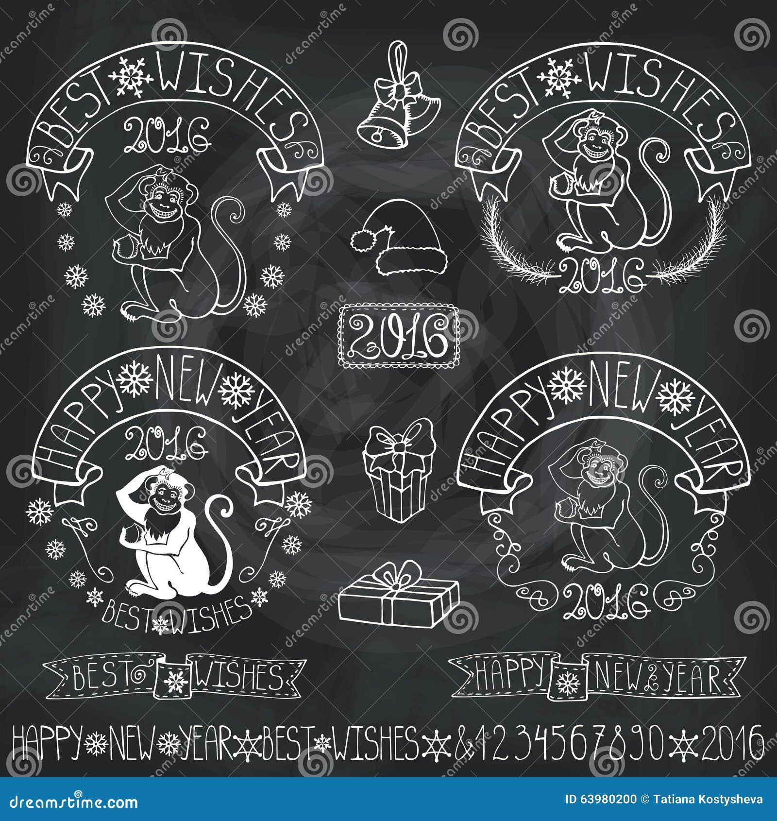 New Year 2016 Monkey Labels,decoration.Chalkboard Stock ...