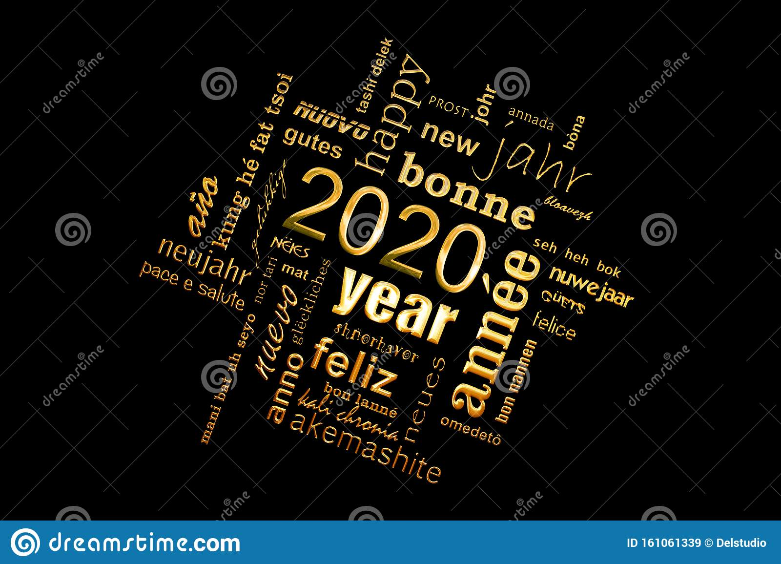 2020 new year multilingual golden text word cloud greeting card on black background