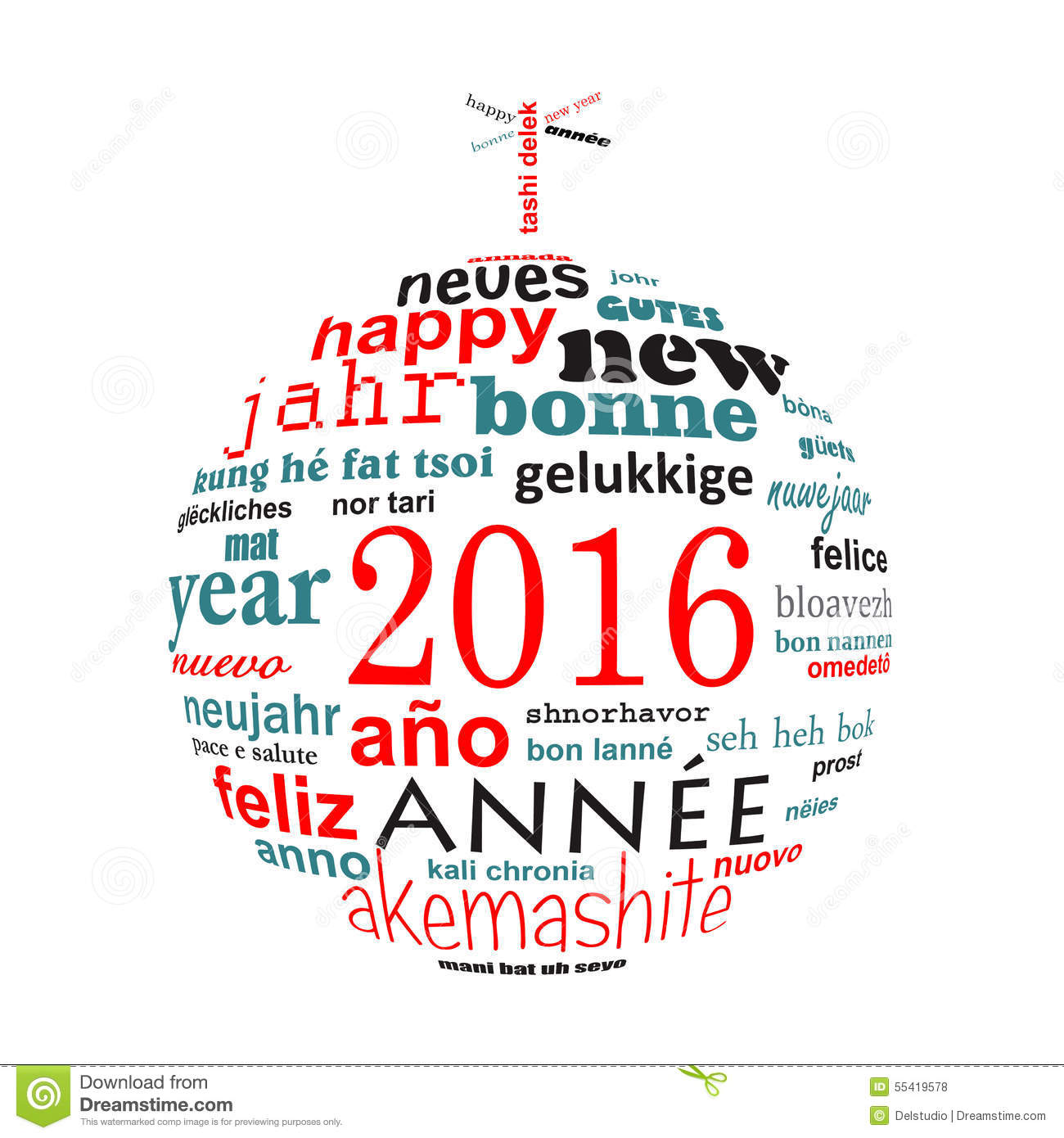 2016 New Year Multilingual Text Word Cloud Greeting Card In The
