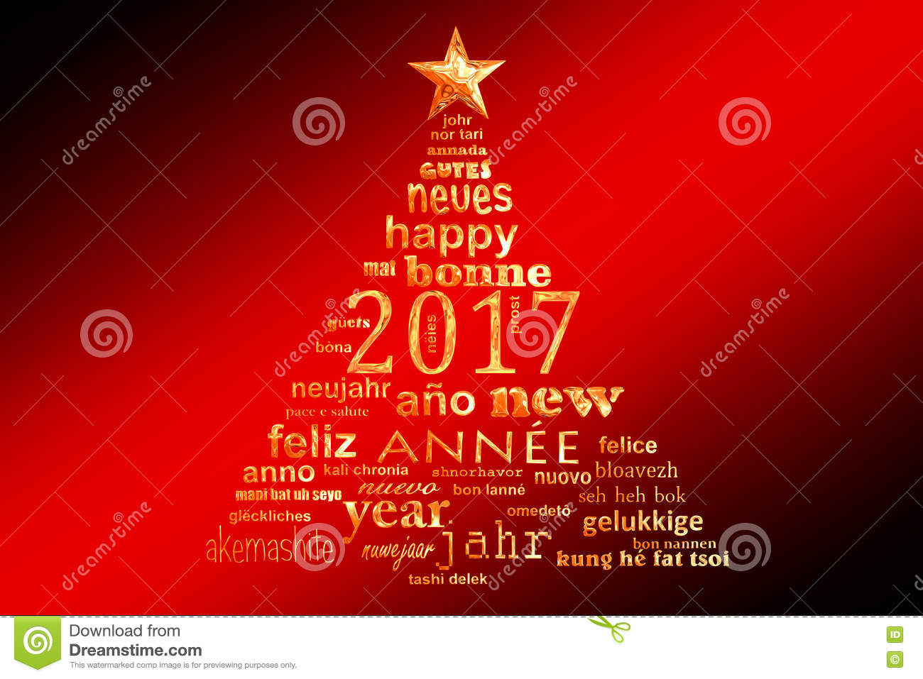 2017 New Year Multilingual Text Word Cloud Greeting Card Shape Of – Christmas Card Word