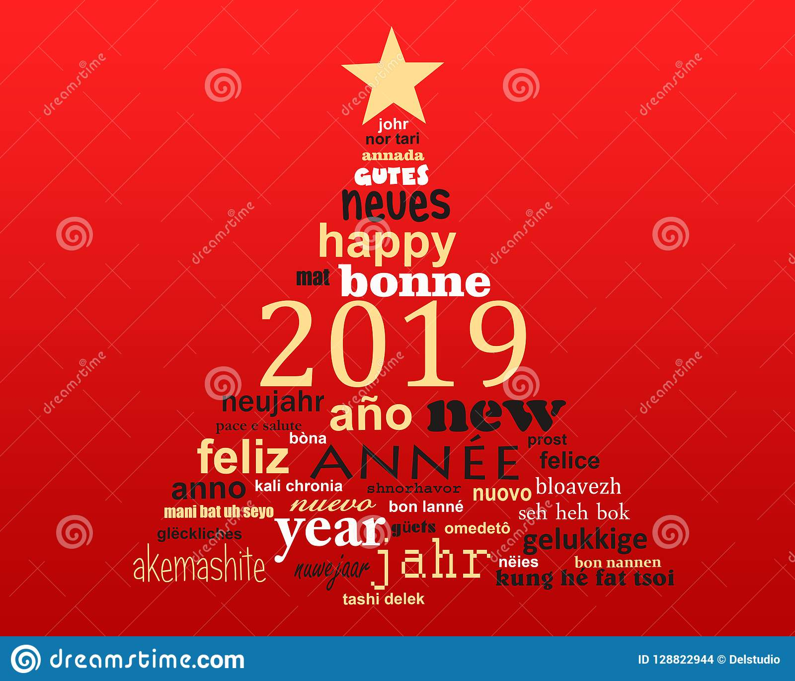 2019 new year multilingual text word cloud greeting card in shape of a christmas tree