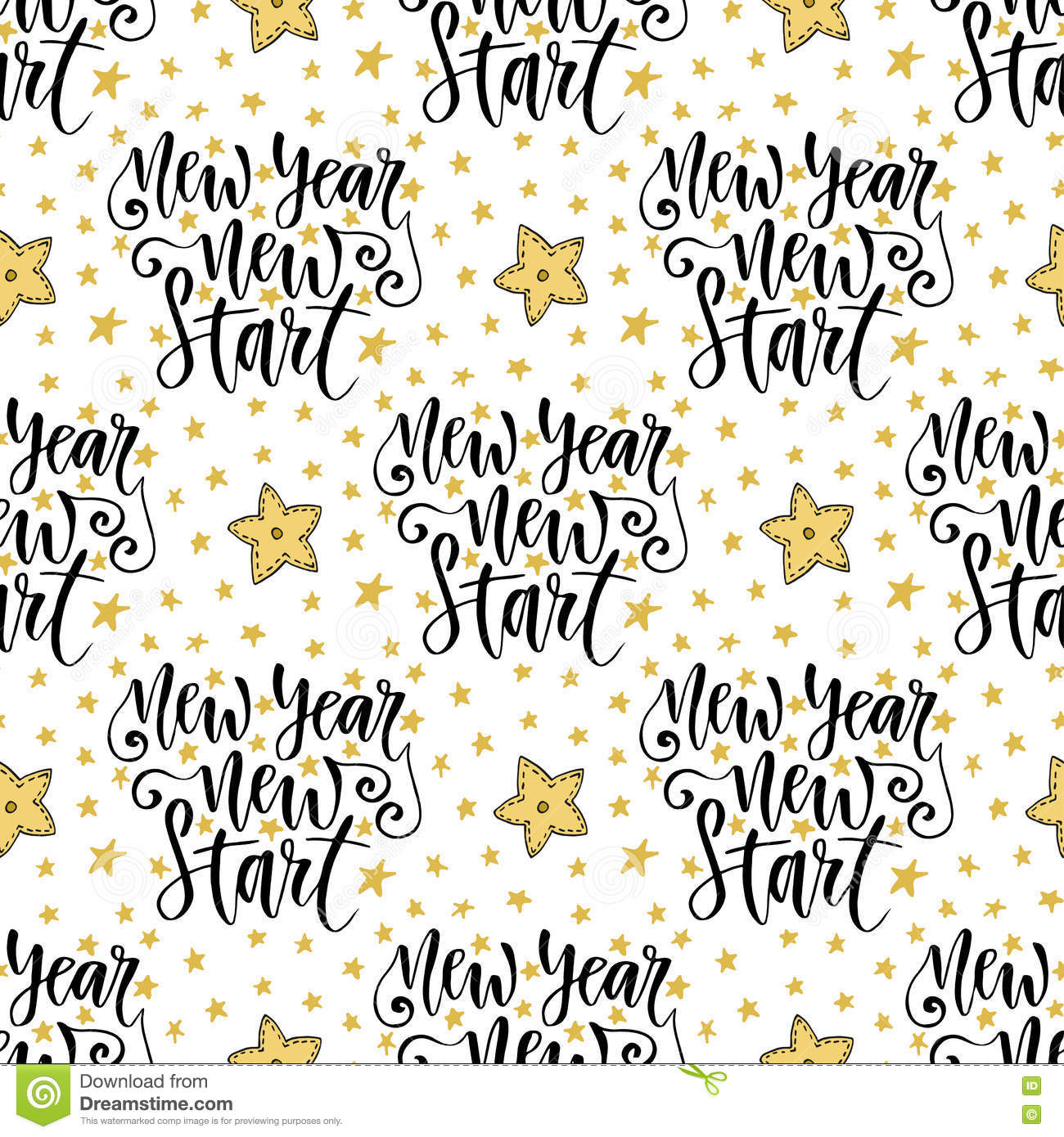 New Year Start Vector Seamless Pattern With Modern Calligraphy