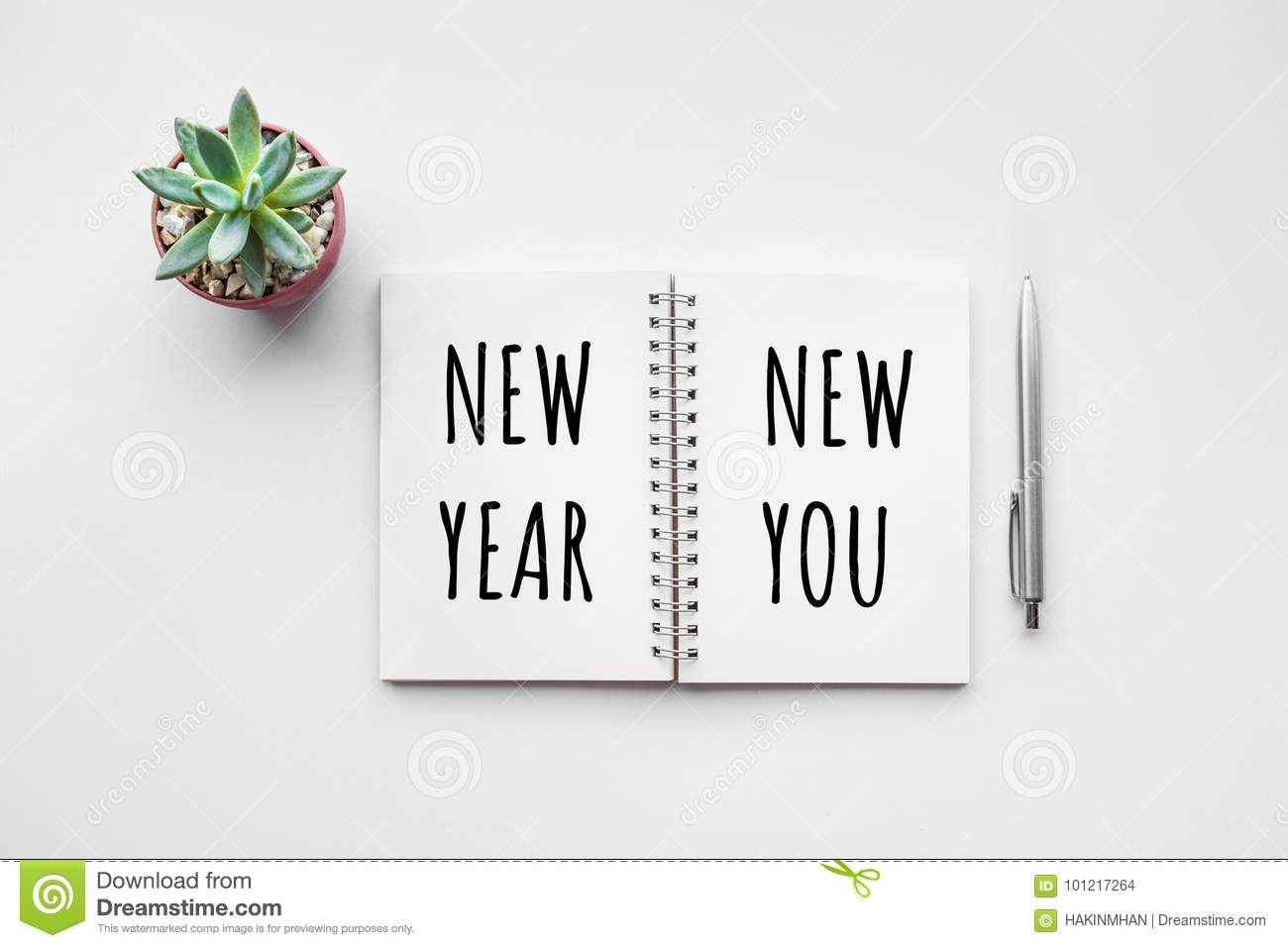 New Year New You Text On Notepad Stock Photo - Image of inspiration ...