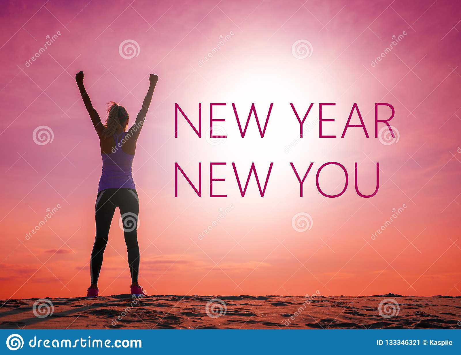 new year new you text quote on the image of w s silhouette at