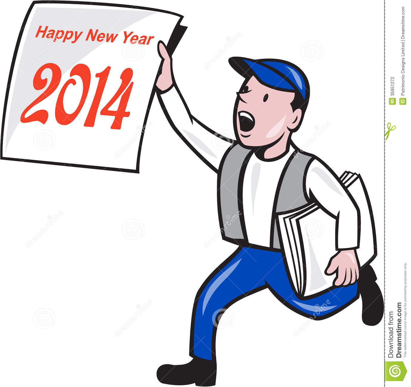 new year 2014 newspaper boy showing sign cartoon stock vector