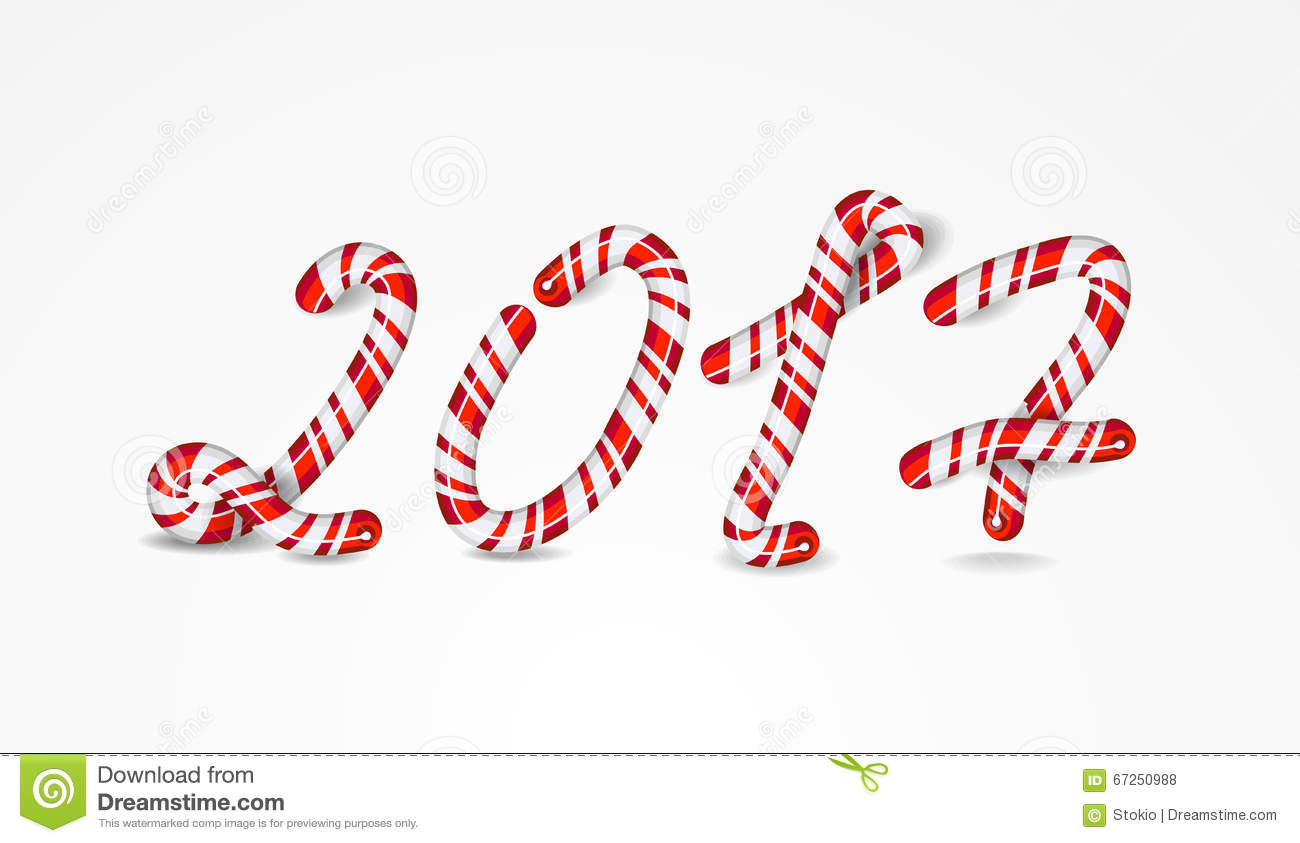 New Year 2017 number as striped holiday candies