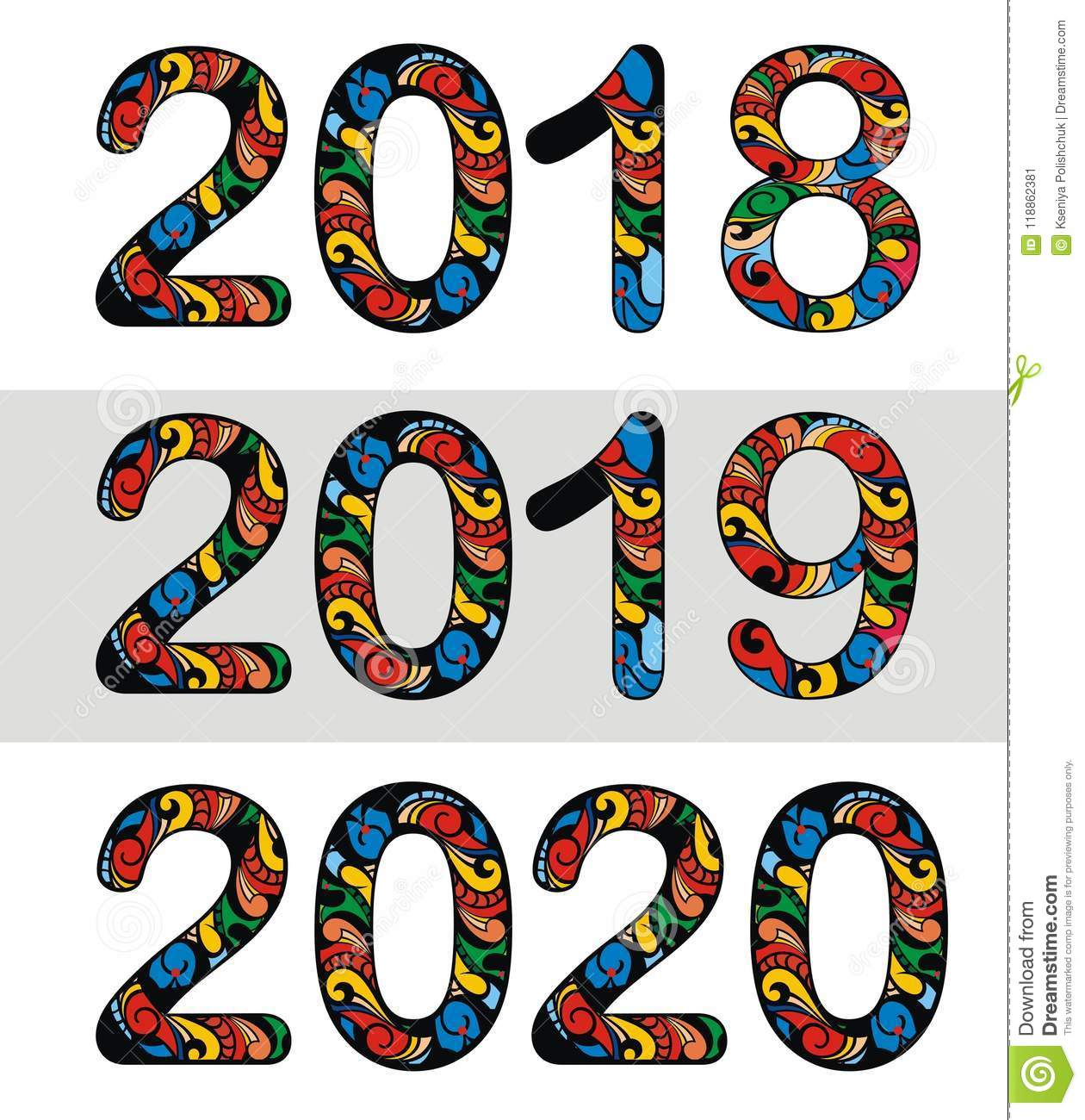 New Year 2018, 2019, 2020 Number Design Stock Vector ...