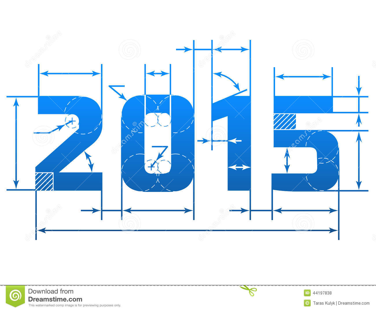 new year 2015 number with dimension lines stock vector