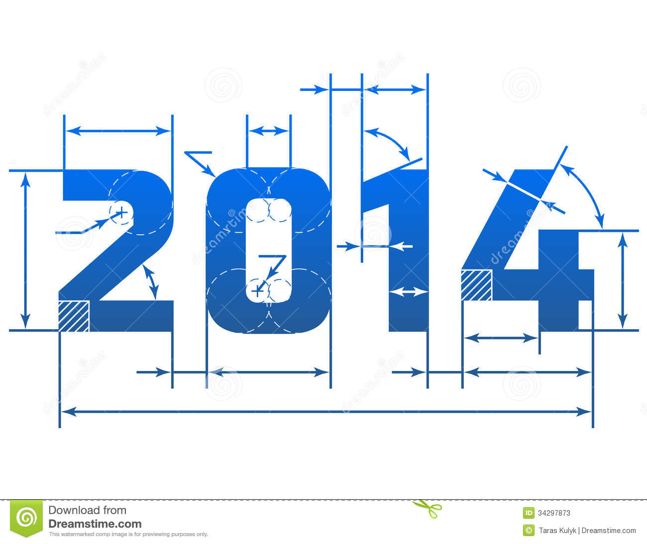 Drawing Lines Year : New year number with dimension lines stock photos