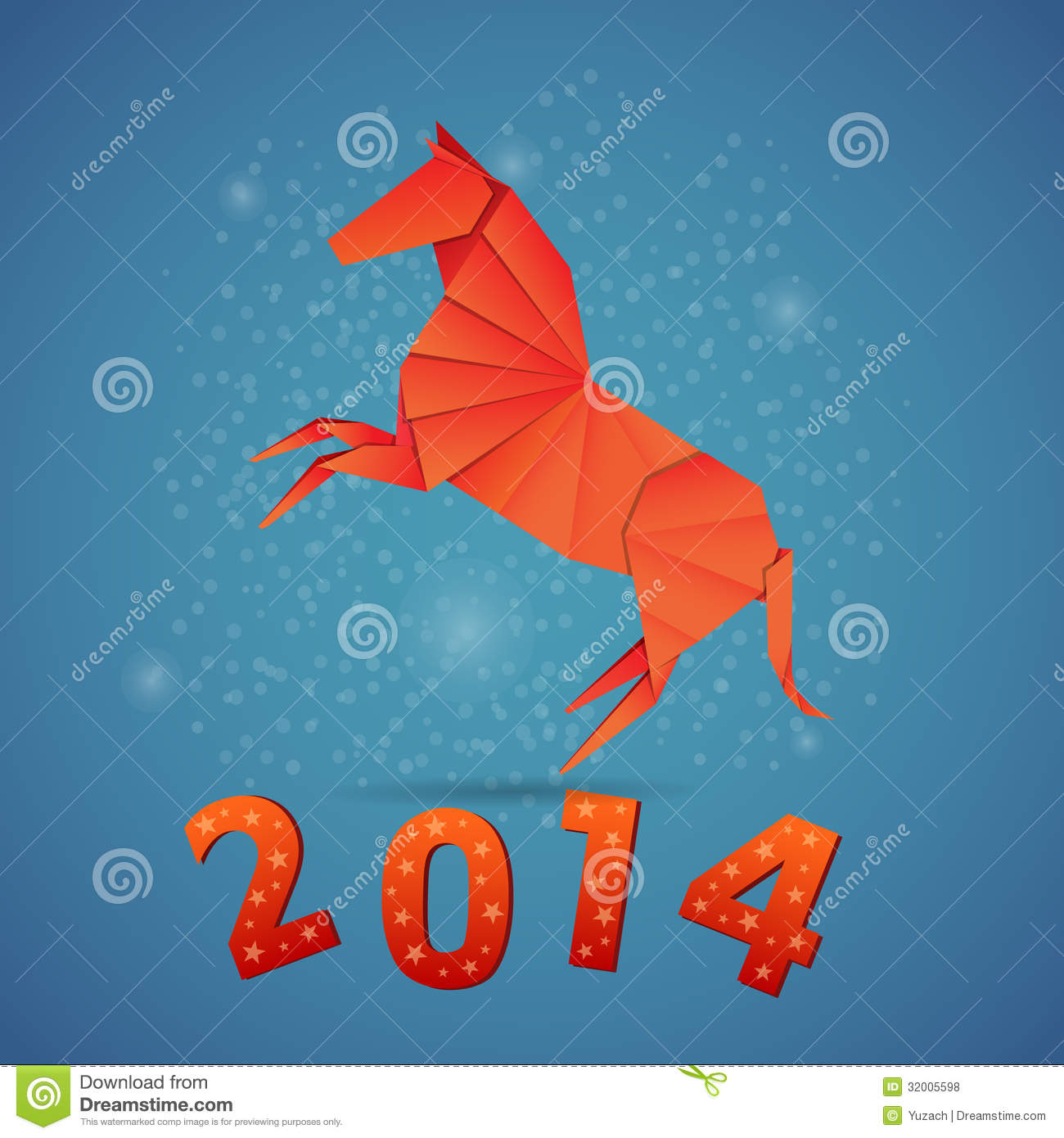 new year origami paper horse 2014 royalty free stock