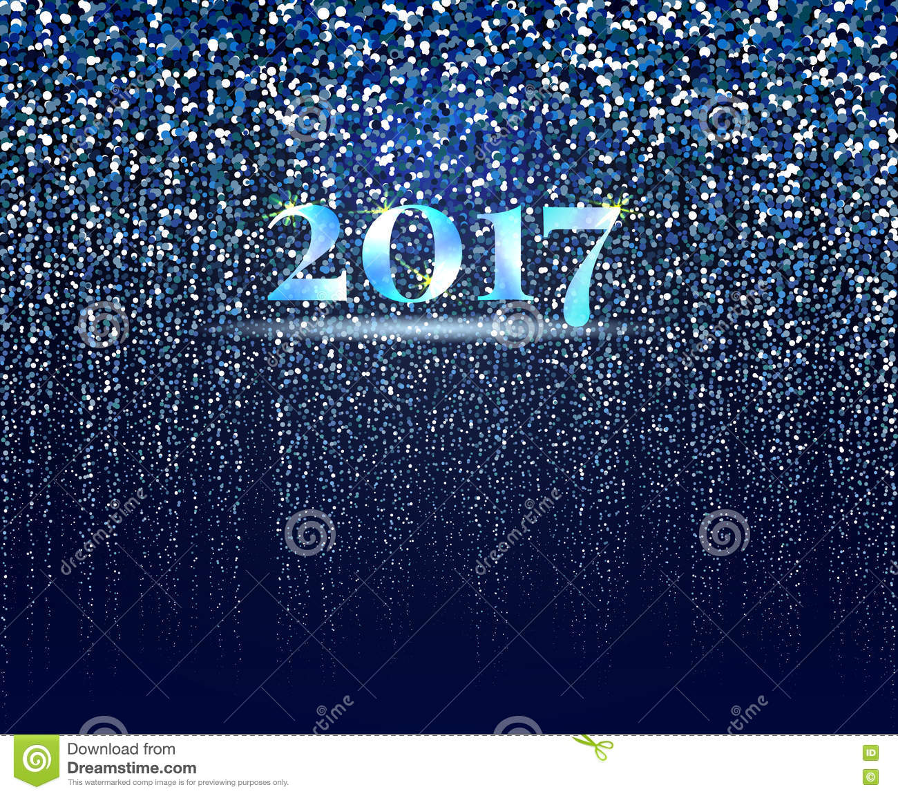 new year 2017 abstract background new year snowfall on blue background particles design vector illustration