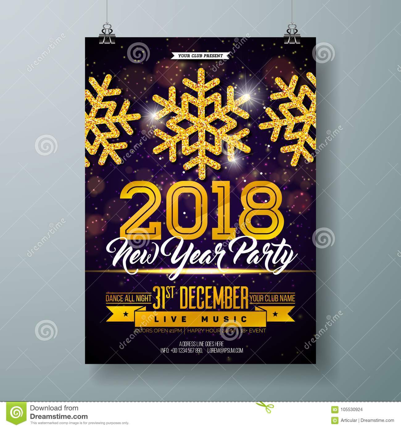 new year party celebration poster template illustration with 3d 2018 number disco ball and firework