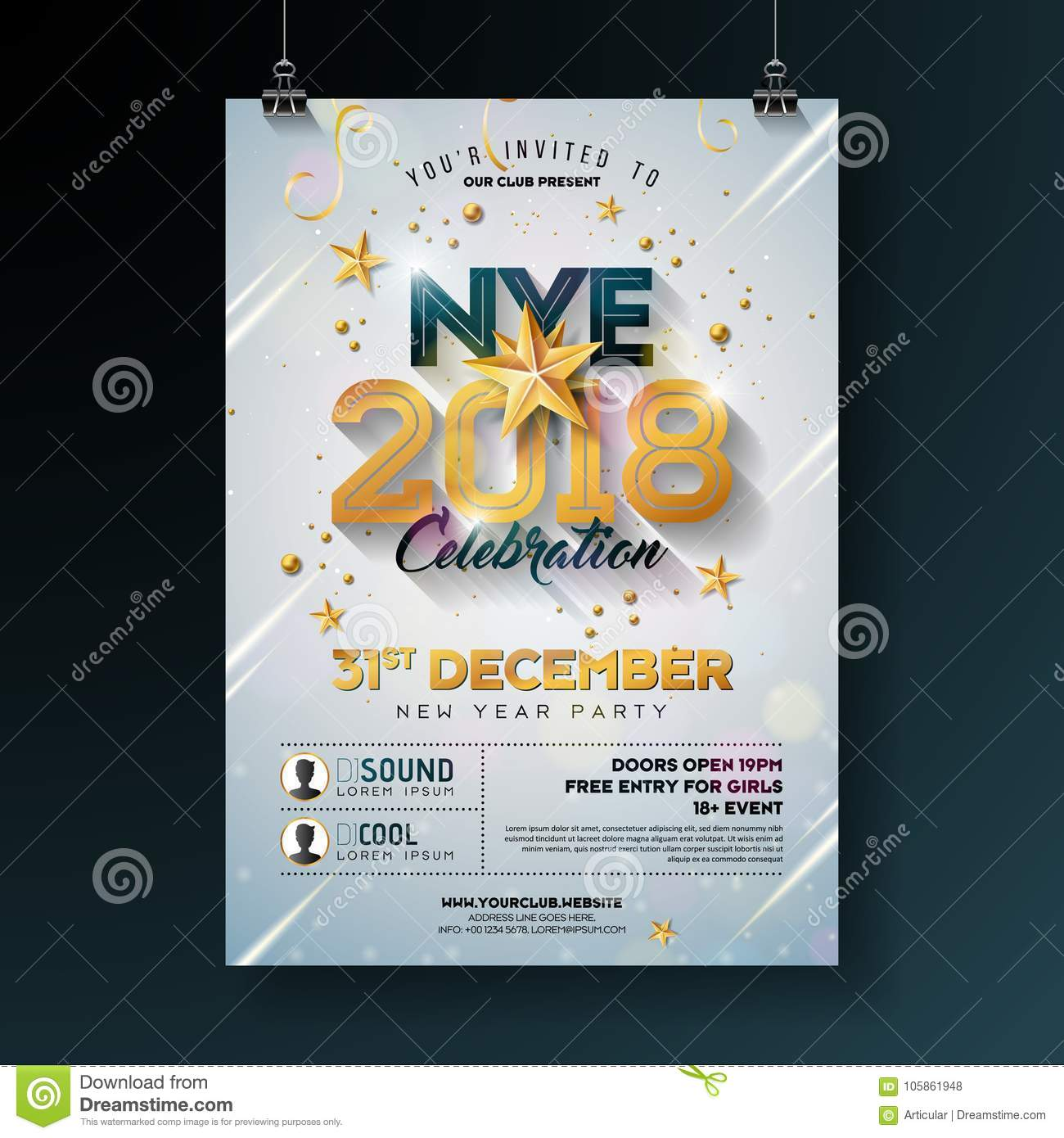 2018 new year party celebration poster template illustration with shiny gold number on white background