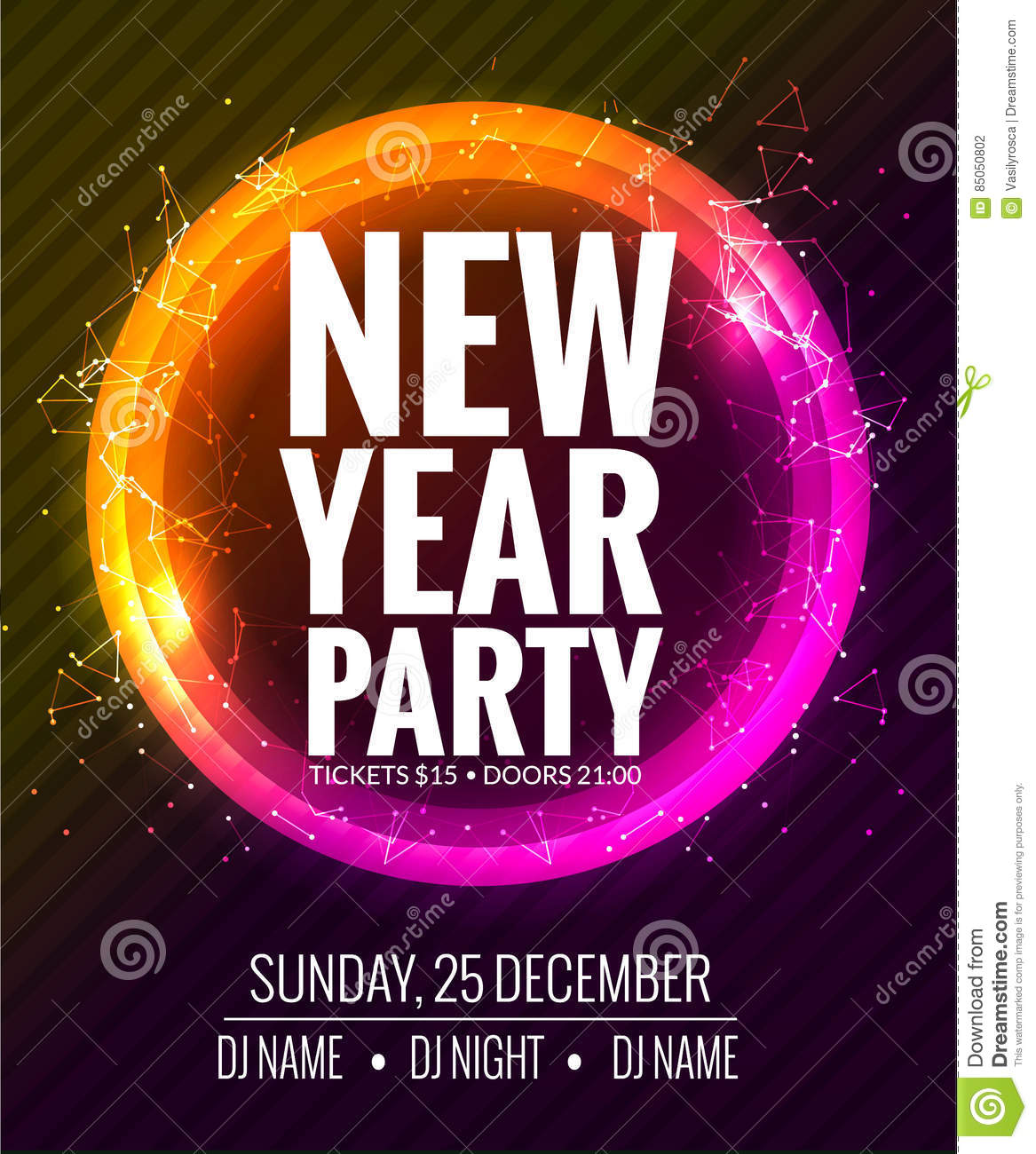 New year party and christmas party poster template design for Terrace new year party