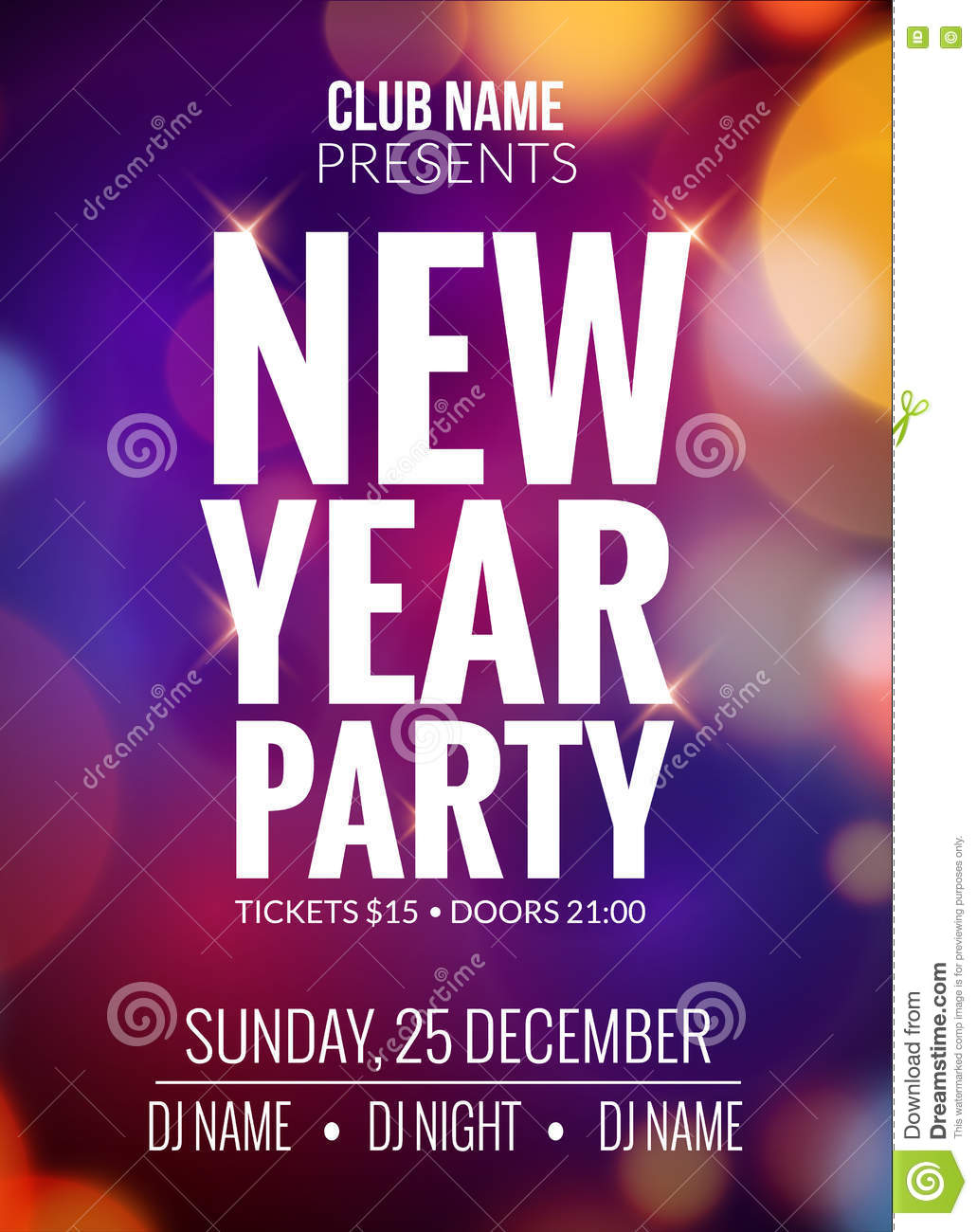 new year party design banner event celebration flyer template bokeh lights new year festive