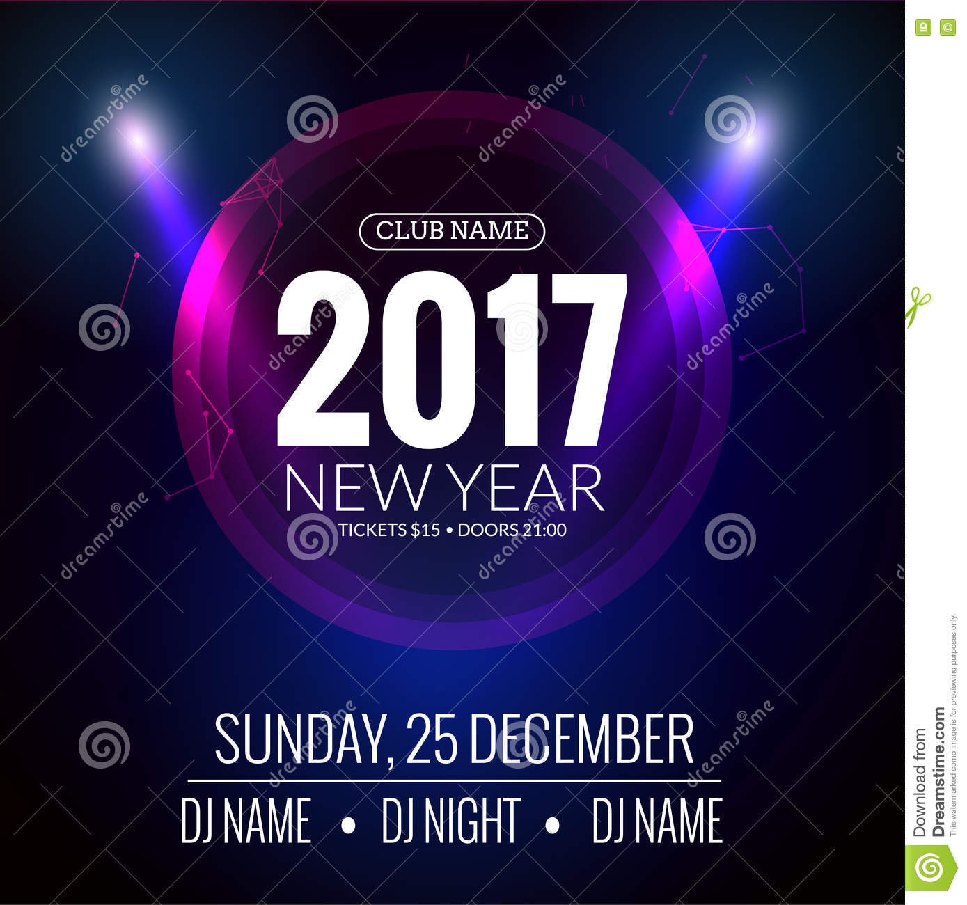 New Year 2017 Party Poster Template Vector Image 78542584 – New Year Poster Template
