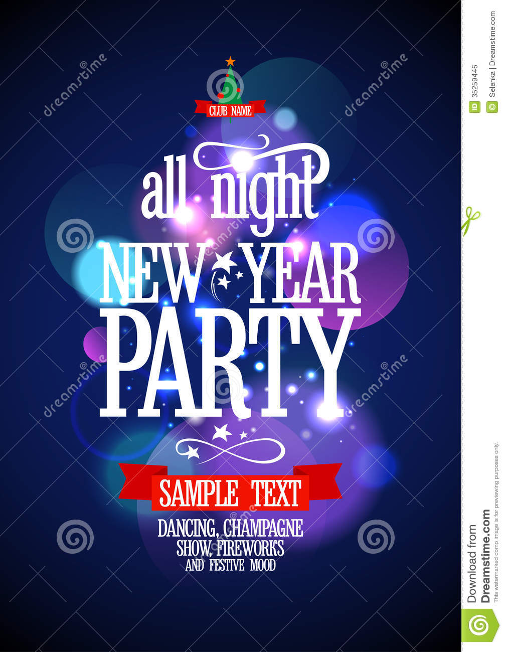 New Year Party Design With Bokeh. Royalty Free Stock Image - Image ...