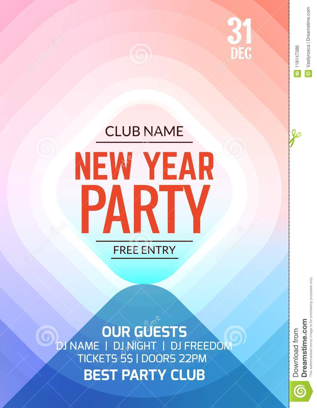 new year party flyer design template banner poster new year event disco club