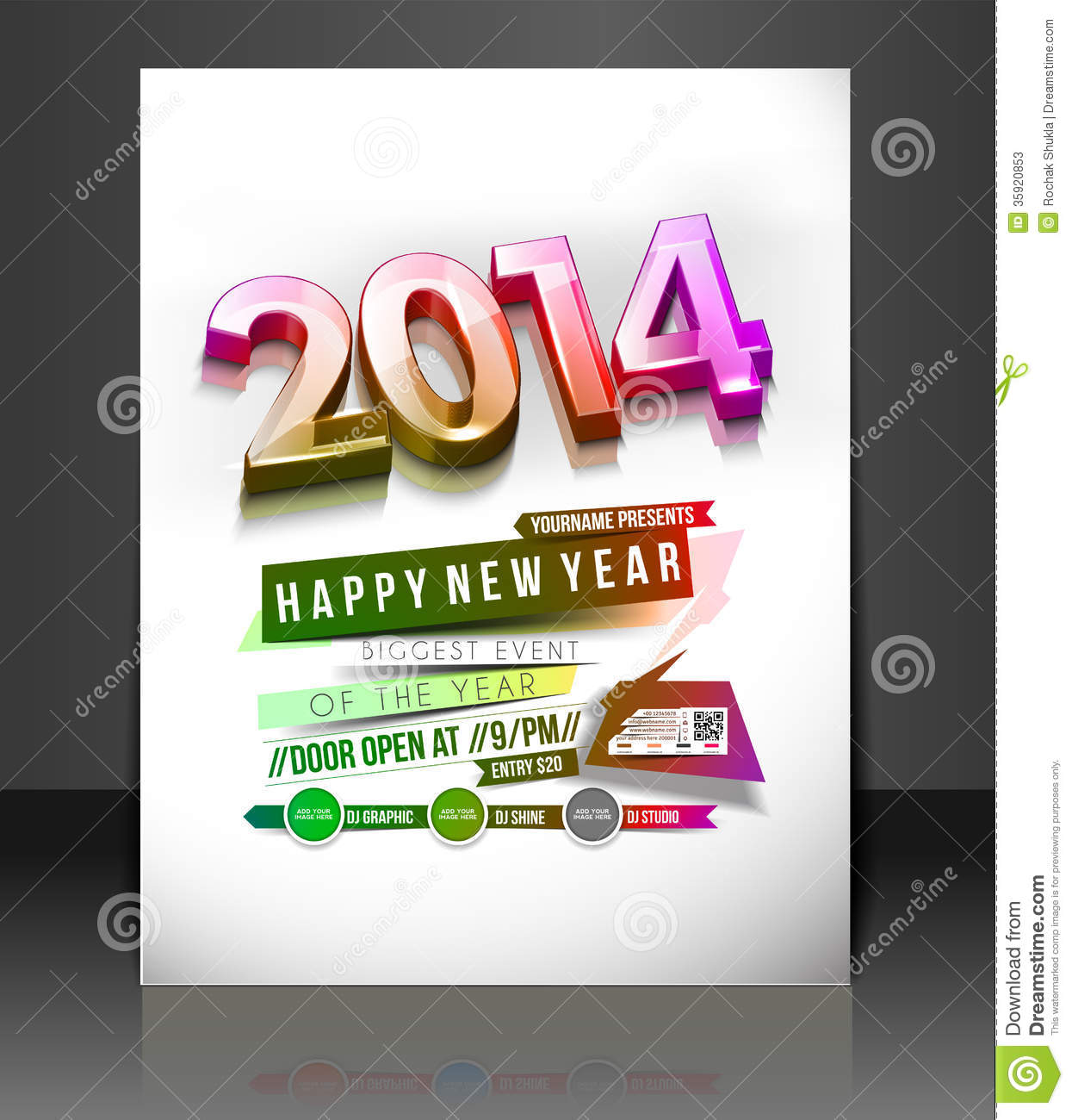 new year party flyer stock vector image of decorative 35920853