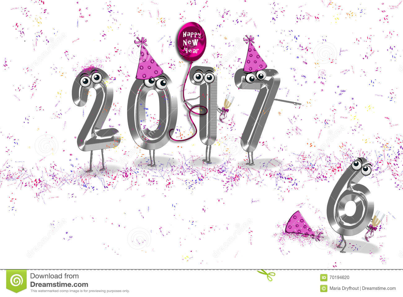 New Year 2017 party humor stock illustration. Illustration of ...