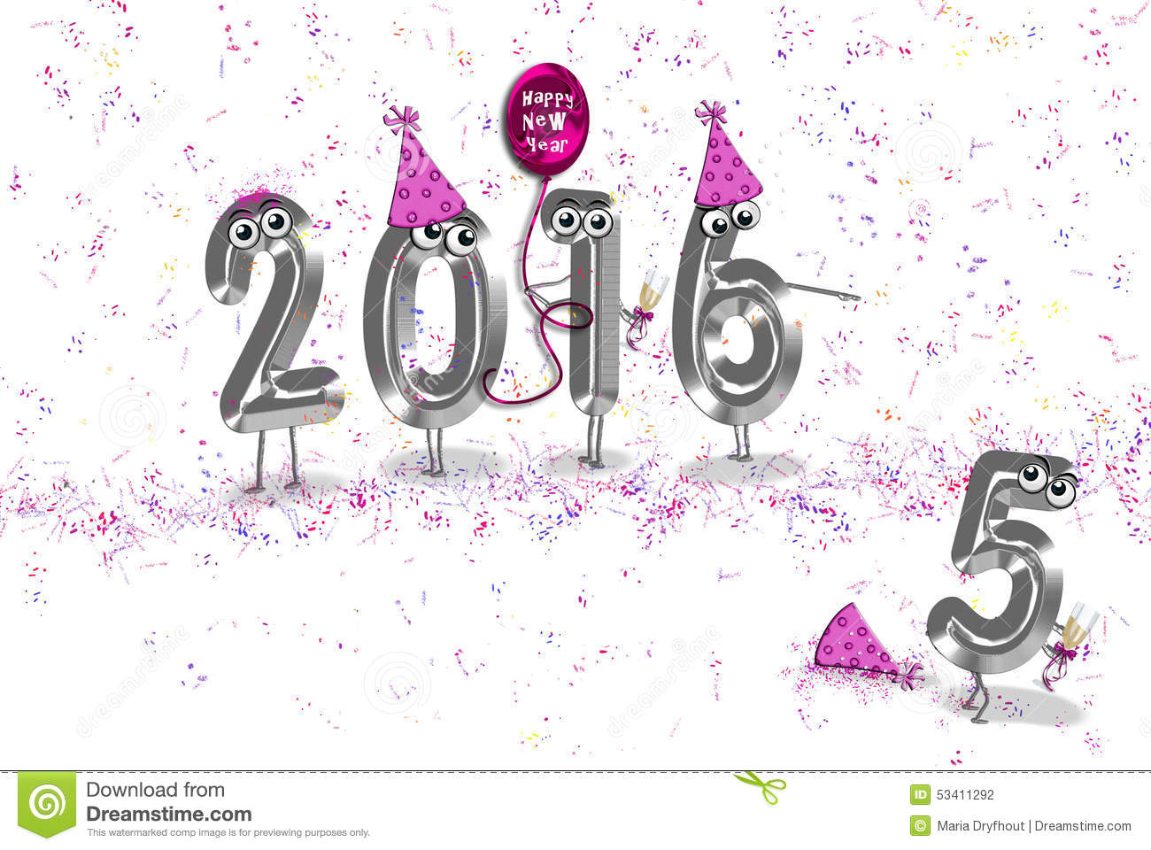 New Year 2016 party humor stock illustration. Illustration of party ...