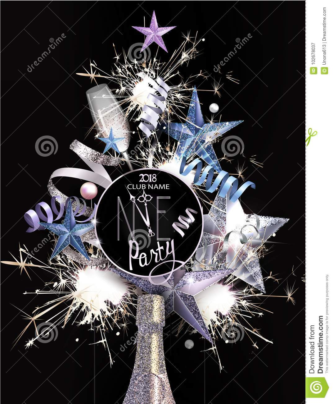 new year party invitation card with christmas decoration objects arranged in shape of christmas tree