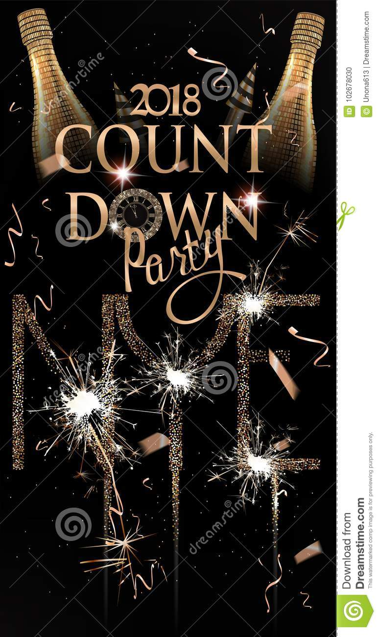 new year party invitation card with sparkling bottle of wine fireworks and sparklers