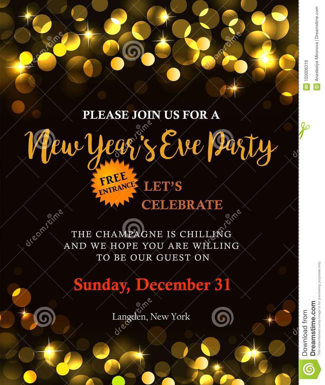 New Year Party Invitation Stock Vector Illustration Of Flyer