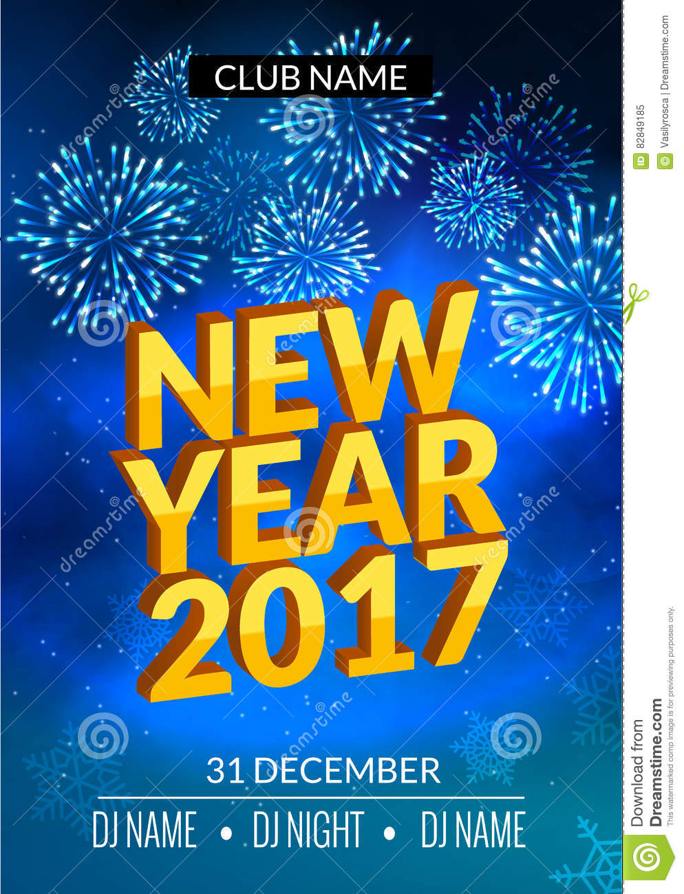 new year party poster design with fireworks light new year disco flyer template