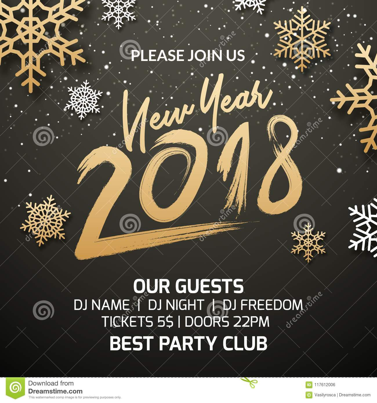 new year 2018 party poster invitation decoration design xmas holiday template background with snowflakes