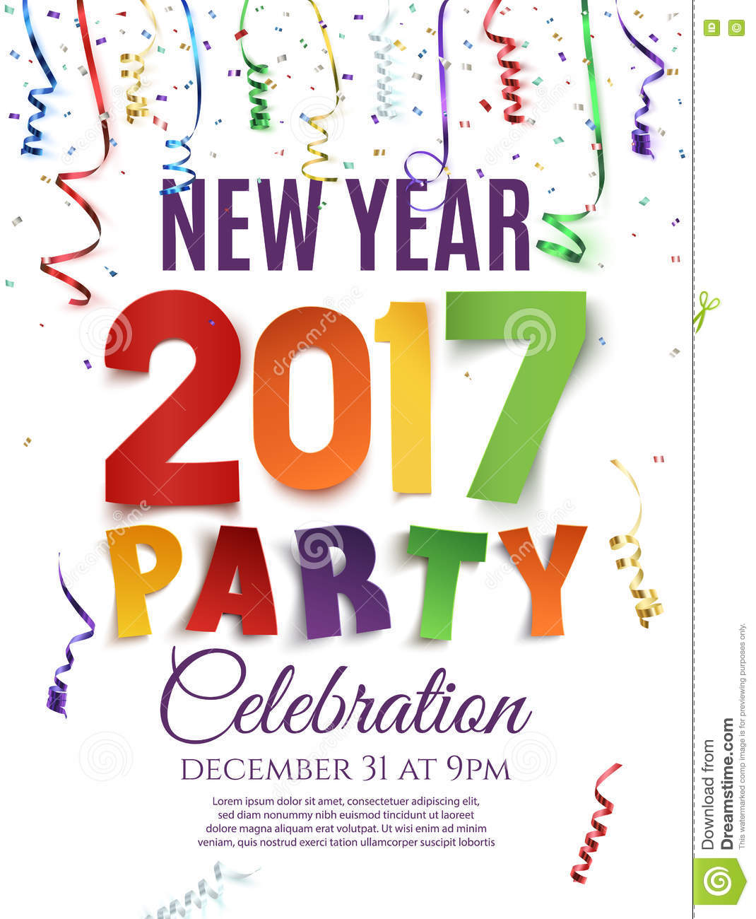 New Year 2017 Party Poster Template Stock Vector Image