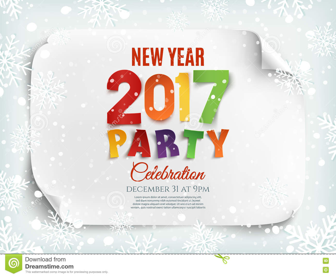 new year 2017 party poster template