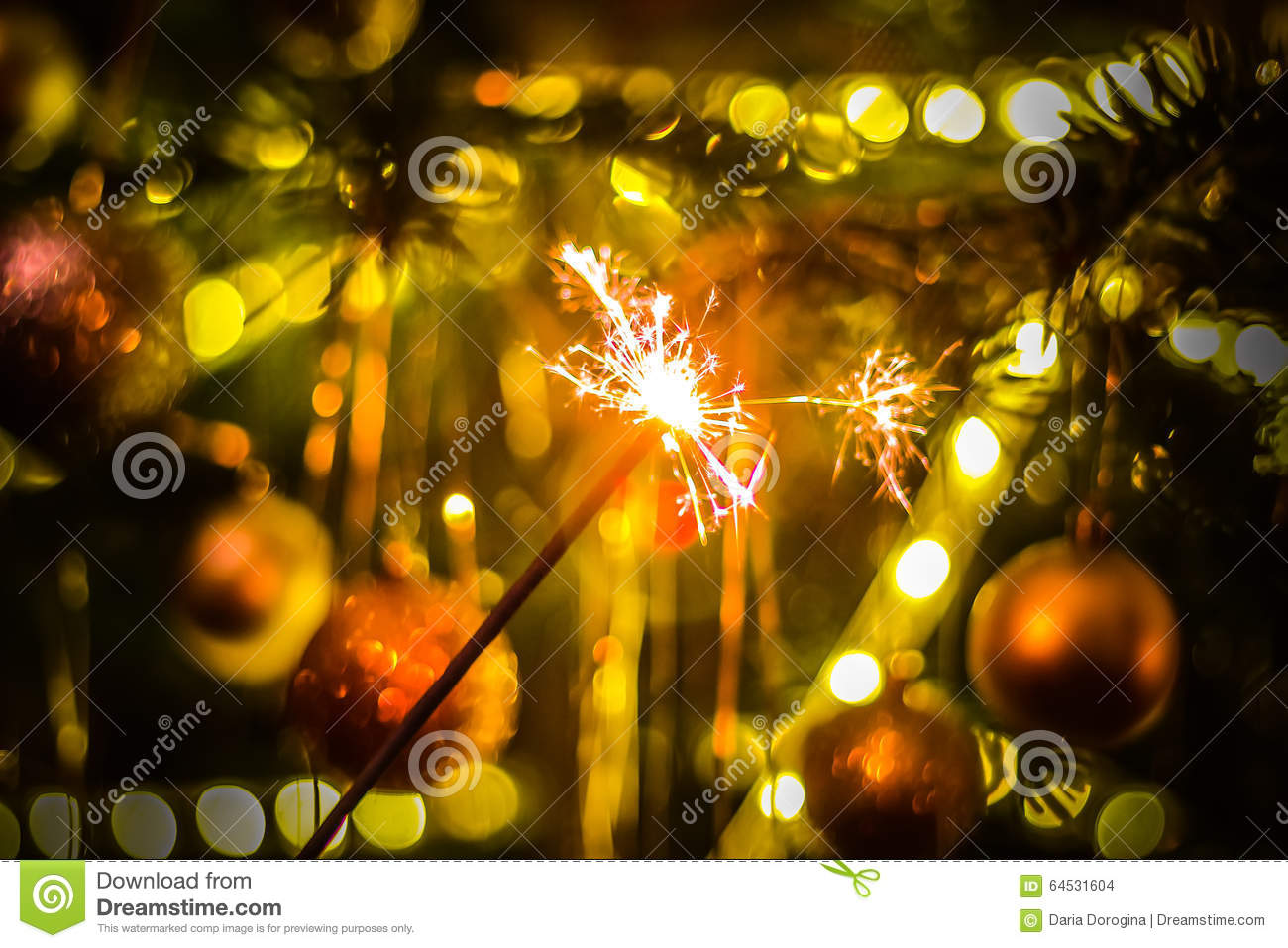 new year party sparkler sparkler on bokeh background christmas theme
