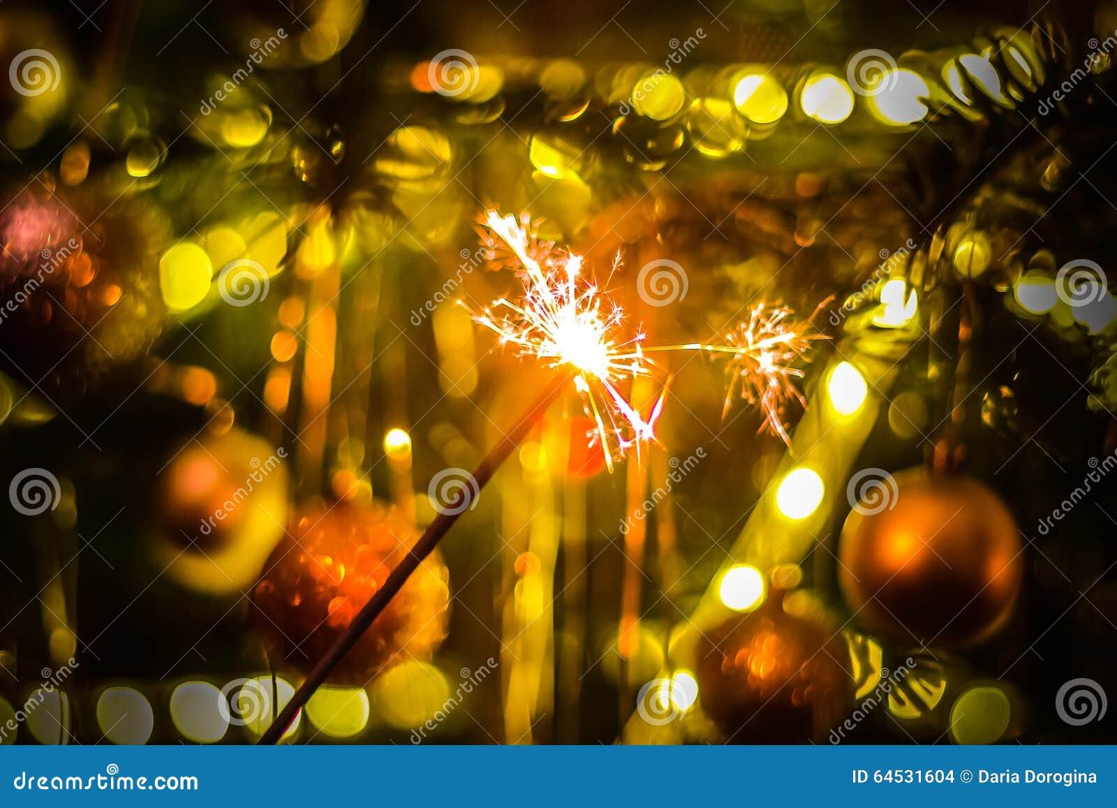 new year party sparkler sparkler on bokeh background christmas theme
