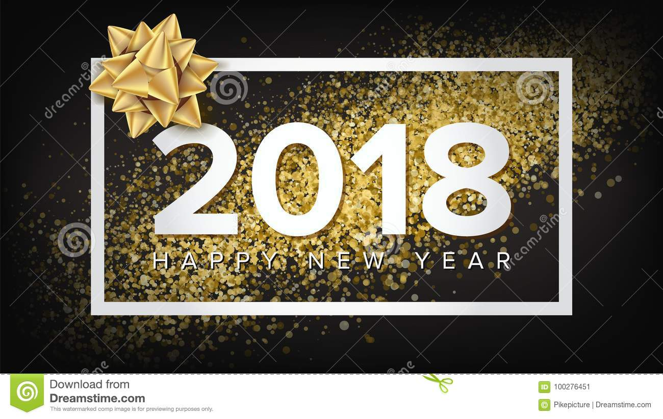 2018 new year poster vector realistic bow christmas greeting card luxury xmas brochure