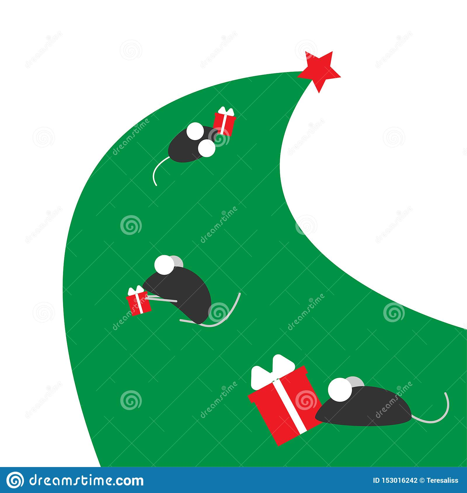 New Year of the rat or mouse. The symbol of the Chinese year. Mice run on a Christmas tree with gifts. Place for your