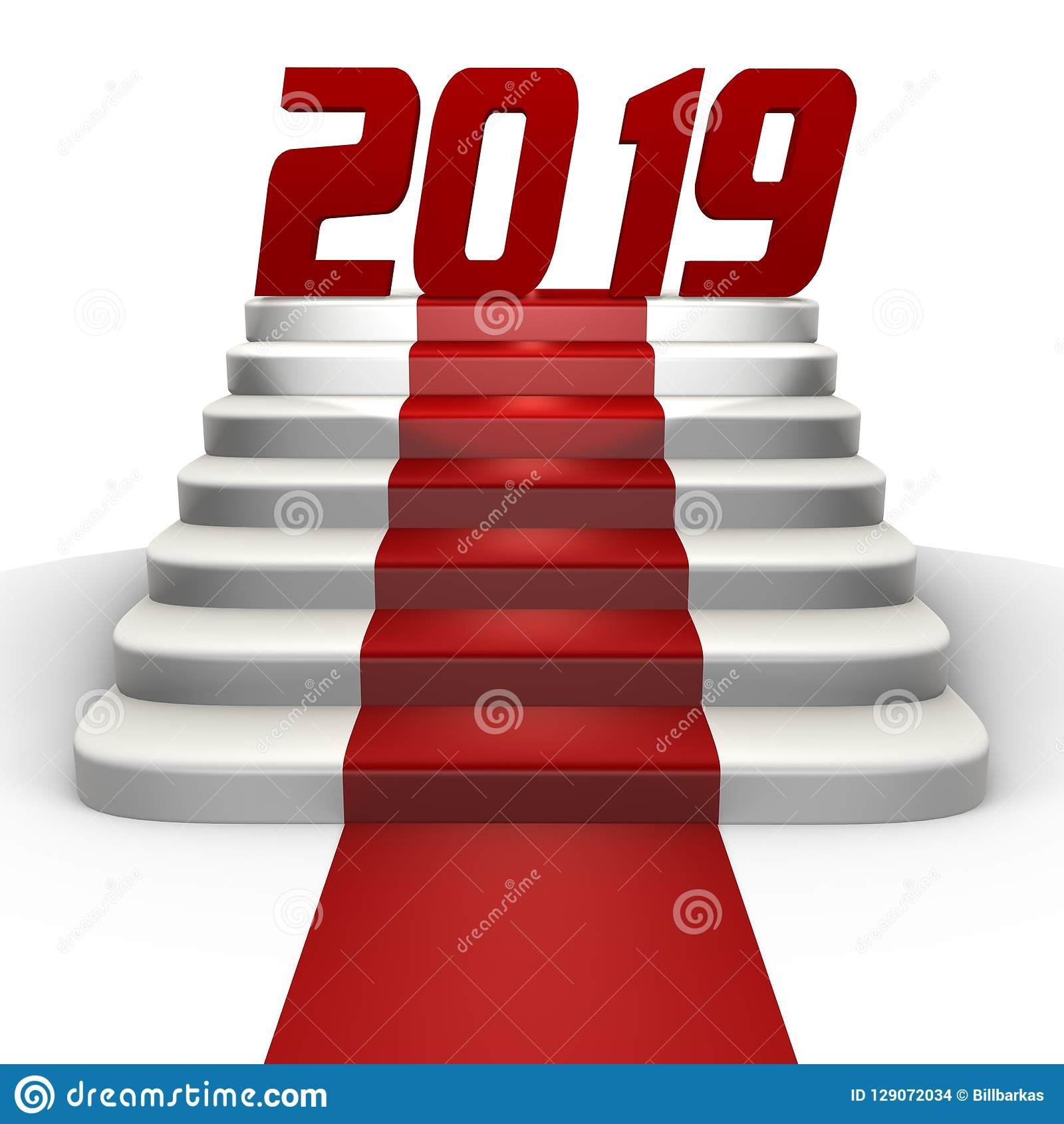 New year 2019 on a red carpet - a 3d image