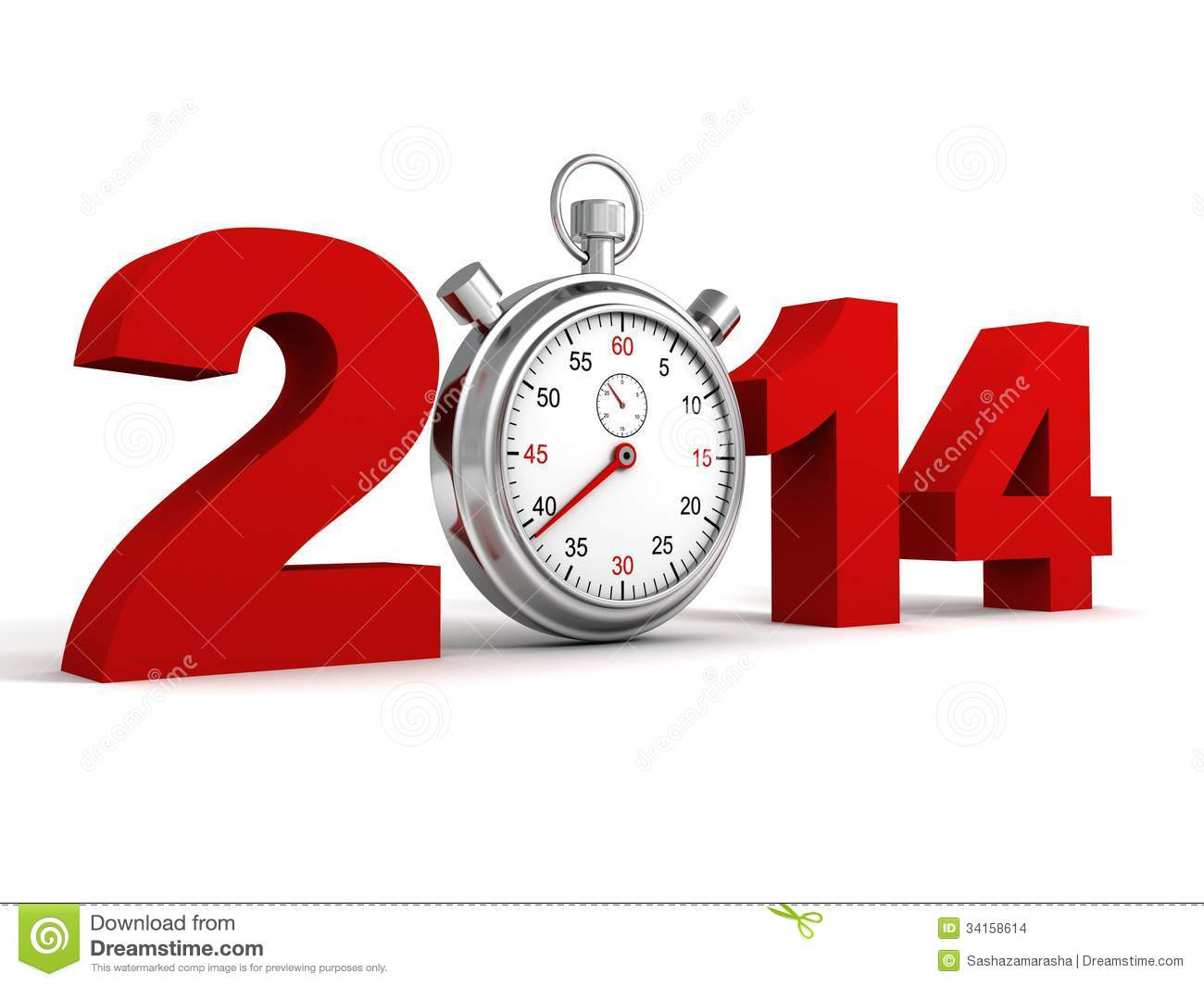 new year 2014 red text numbers with sports watch stock