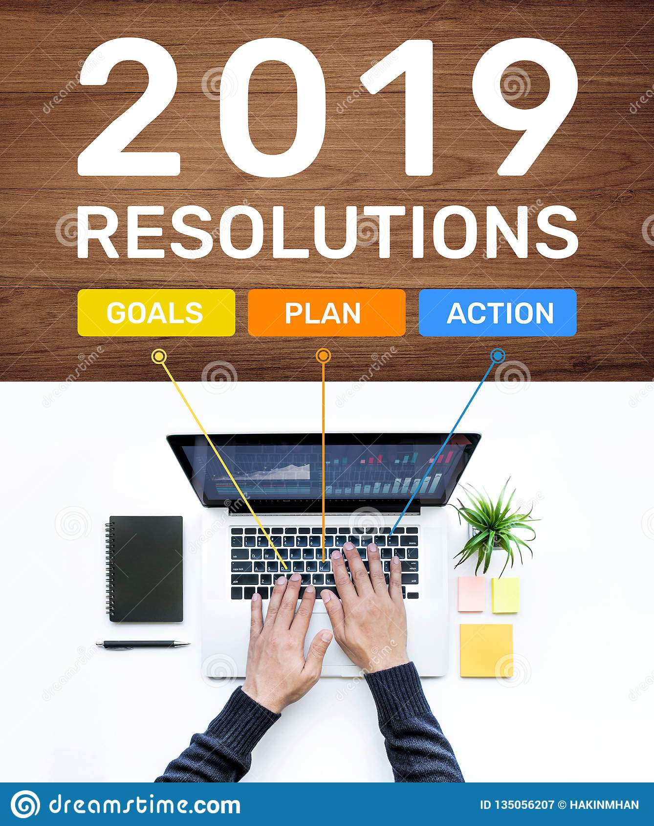 2019 new year resolution concepts with goal,plan,action text and male using computer laptop.Business success ideas