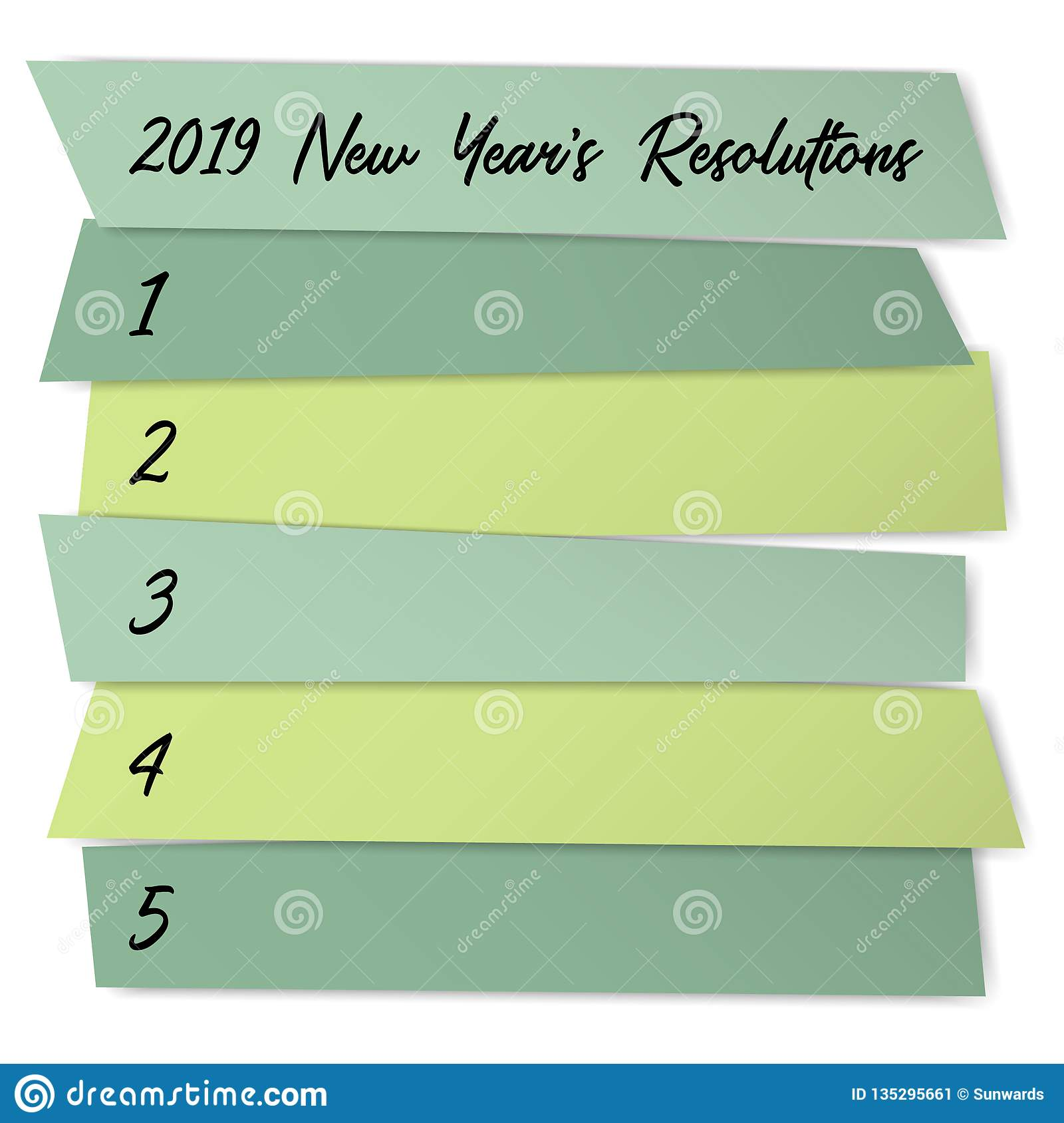 New Year Resolutions Challenge Vector Template. Stock