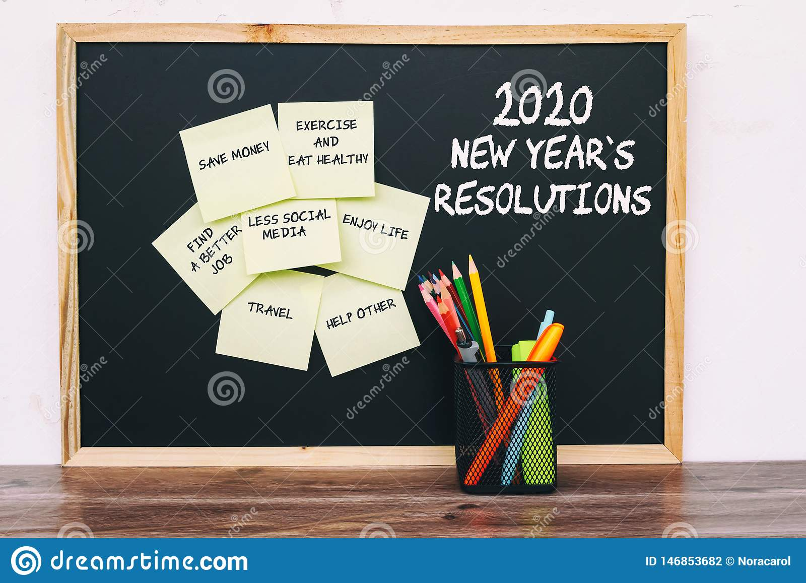 New Years Resolutions 2020.2020 New Year Resolutions List On Sticky Notes Stock Photo