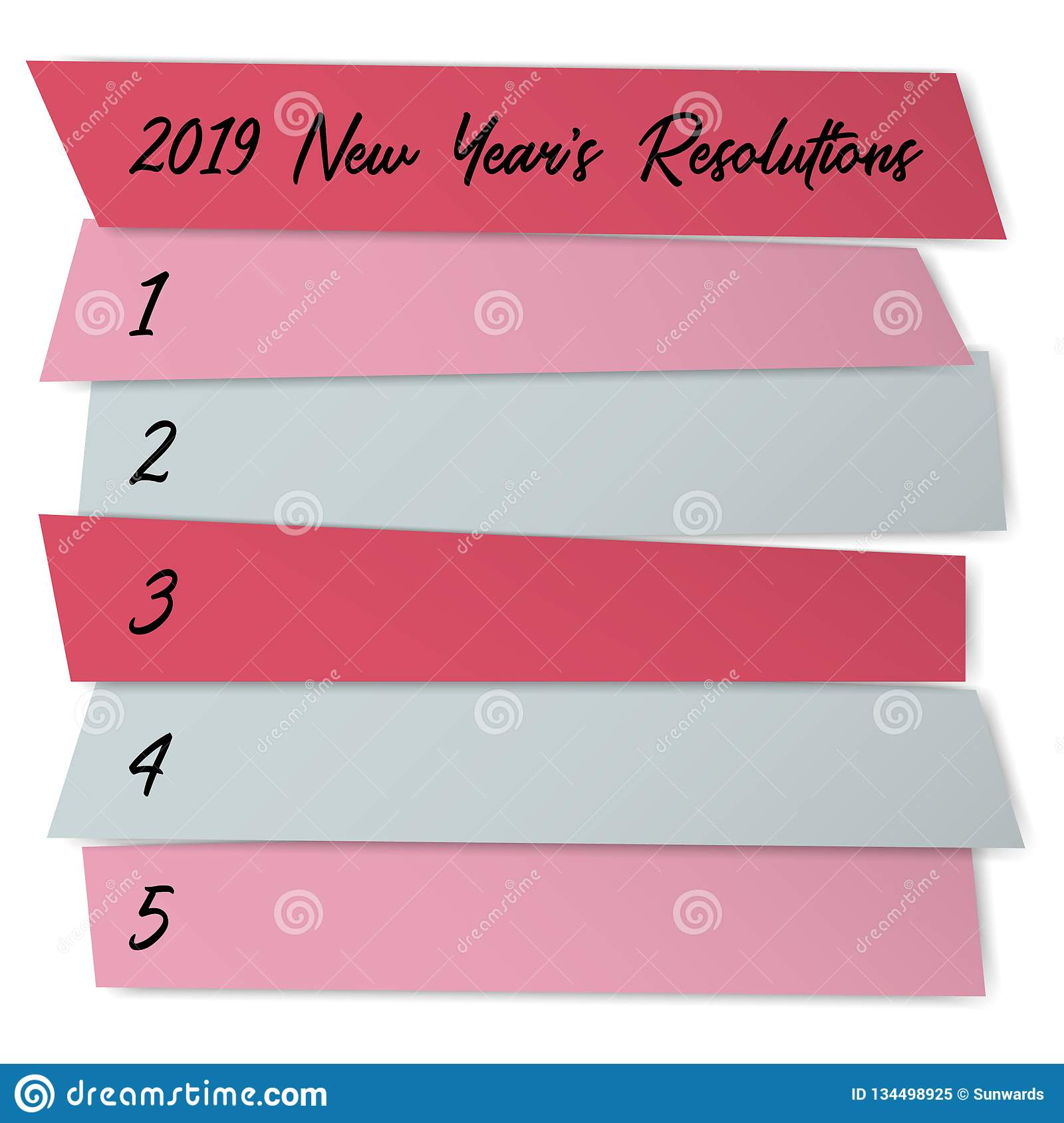 New Year Resolutions List Vector Template For Plans. Stock
