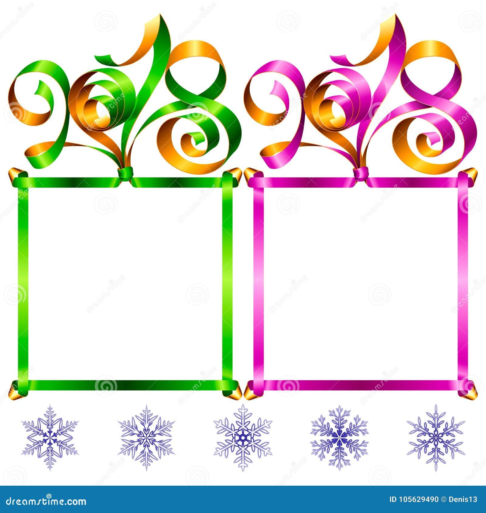 2018 New Year Ribbon Lettering Frame Set Stock Vector - Illustration ...