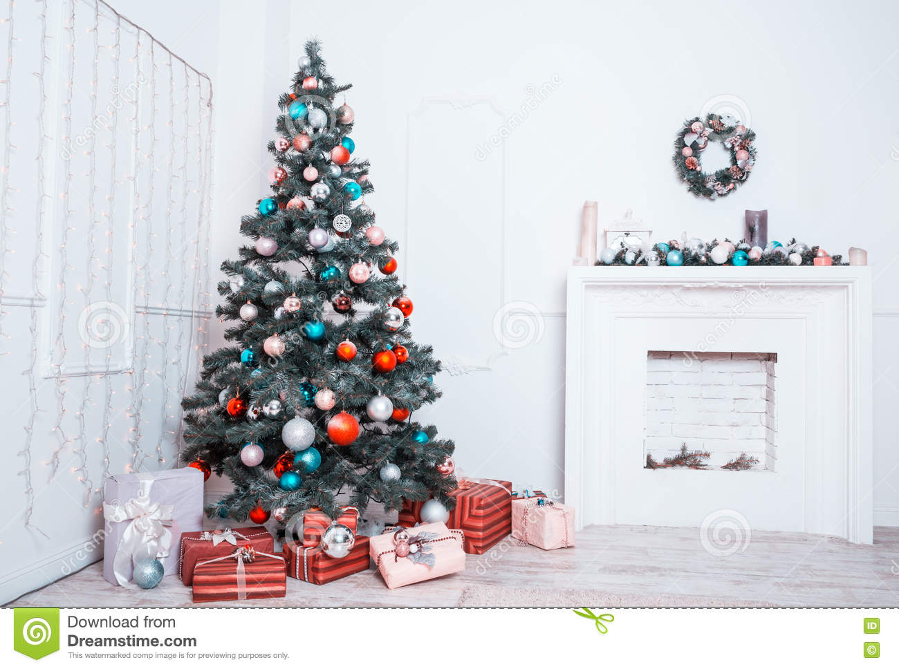 New Year Room With Decorated Christmas Tree Stock Photo